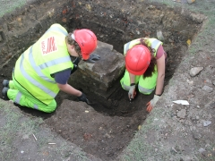 MOLA Trainees digging in an archaeological trench in Allen Gardens, Shoreditch