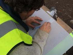 A MOLA Trainee recording archaeology at Allen Gardens, Shoreditch