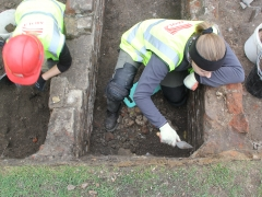 MOLA Archaeology Trainees digging the school at Allen Gardens, Shoreditch