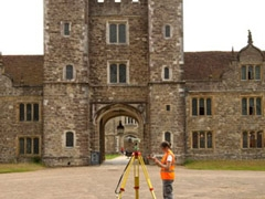 A member of Geomatics using the GNSS kit