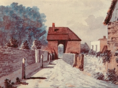 Watercolour of the Great Gate of Stratford Langthorne Abbey by Francis Grose, 18th century. Reproduced by kind permission of Newham Heritage