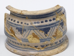 17th century apothecary tin-glazed ware cylindrical jar from MOLA excavations at Wood Street