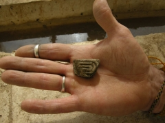 A decorated ceramic fragment found during the excavation