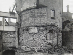 A photograph taken in 1941 from the former Castle Street to the west, showing the bastion standing amongst the bombed out ruins of surrounding buildings. © City of London, London Metropolitan Archives