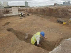 Roman pottery was unexpectedly found in this ditch, image looking northwest