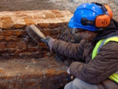 The wall to the Tudor storehouse during the evaluation