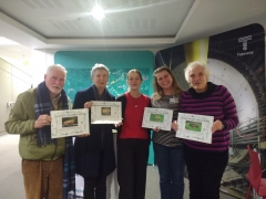 FROG Award winners, (Left to Right: Clive, Rosie, Jane Sidell, Monika, Selina)