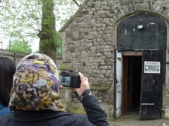 Students recording standing buildings