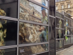An interpretative hoarding at the Bloomberg London site in the City of London