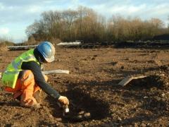 An archaeologist at work on the site.