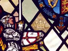The memorial window in the Royal Shakespeare Theatre Library and Art Gallery, dedicated to members of the Bensonian Players who died during the First World War.