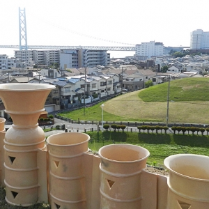 View from top of kofun burial mound at Goshikizuka Park outside Kobe, Japan (c) MOLA
