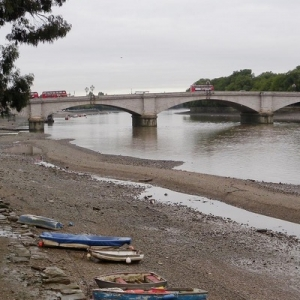 Family Walk on the Thames foreshore at Putney community archaeology