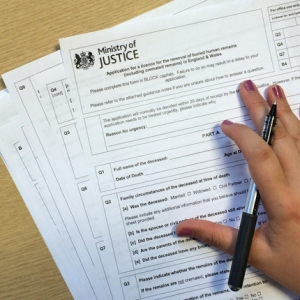 Ministry of Justice burial licence form