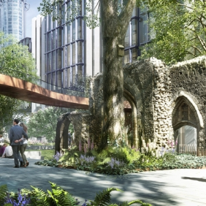 London Wall Place public realm with St Alphage Tower  (c) London Wall Place LP