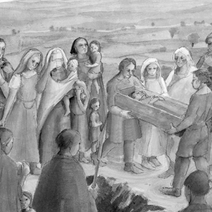 Artist's reconstruction of a burial scene at Mucking, Essex (c) Historic England / Judith Dobie