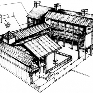 Reconstruction of the Boar's Head Playhouse from 1599, by C Walter Hodges