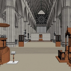 St Paul's around 1620, from the model in progress showing the choir stalls, pulpit, bishop's throne and organ wings © John Schofield (St Paul's) Carlos Lemos, Juan Jose Fuldain, Hannah Faux (MOLA), Cameron Westbrook, Grey Isley (NCSU)