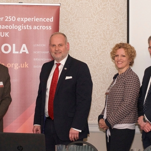 The panellists, from left to right, Janet Miller, George Candler, Jonathan Nunn, Heather Pugh, John Sinclair and David Bainbridge (c) MOLA.jpg