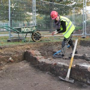 Archaeology Trainees recording at Allen Gardens, Shoreditch