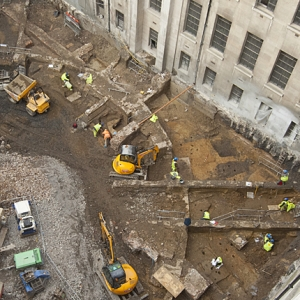 Urban archaeological excavation for a development project