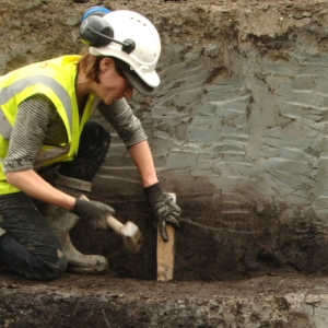 MOLA geoarchaeologist conducting a borehole survey