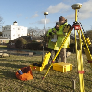 The geomatics team surveying a rural site