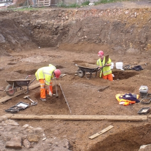 MOLA archaeologists excavating Angel Street, Northampton