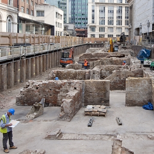 Archaeological excavation at Ten Trinity Square with 18th century building remains.