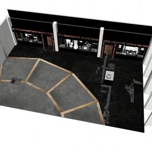 Exhibition space overview showing The Theatre footprint © Nissen Richards Studio
