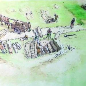 Reconstruction of mass burial pit at New Churchyard. Artist Faith Vardy (c) MOLA