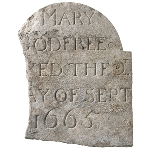 Mary Godfree grave slab died of plague 1665  (c) MOLA/ Crossrail