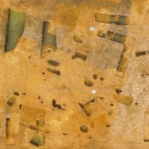 Aerial photo of archaeological A14 site (c) Highways England, courtesy of MOLA Headland Infrastructure