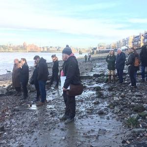 Archaeology Ambassadors on the Thames Foreshore (c) MOLA