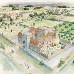 Stepney Green moated manor reconstruction by Faith Vardy (c) MOLA