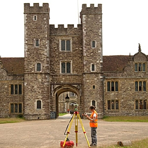 MOLA geomatics team coonducting a measured survey of Knole House