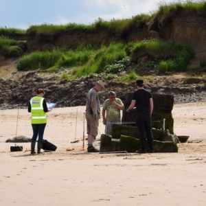 CITiZAN volunteers recording a World War I pillbox on Bridlington Beach coastal and intertidal archaeology