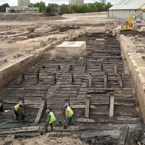 A wooden slipway, one of several built or rebuilt at Deptford royal dockyard in the late 18th century (c) MOLA