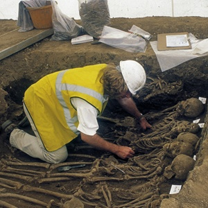 Excavation on human remains at St Mary Spital