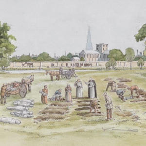 Conjectural reconstruction of burial taking place at the West Smithfield Black Death cemetery by Faith Vardy (c) Crossrail