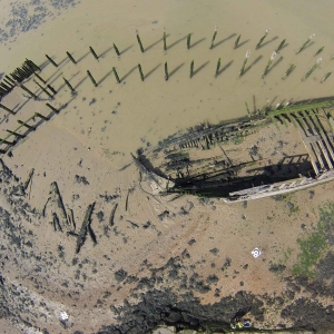 An aerial survey of the wreck of a Danish ship, the Hans Egede, on Brett Aggregates land at Cliffe, Kent.