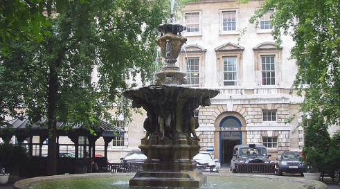 The fountain at St Barts Hospital in the City of London