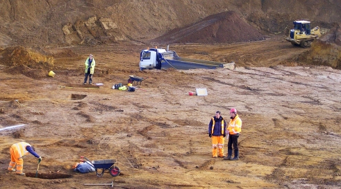 Archaelogical investigations at Harlestone Quarry