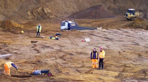 Archaelogical investigations at Harlestone Quarry