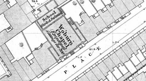 Map of Tavistock Place in Camden, London, 1871