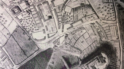 Hounds Gate, Nottingham (Badder and Peat map of 1774)